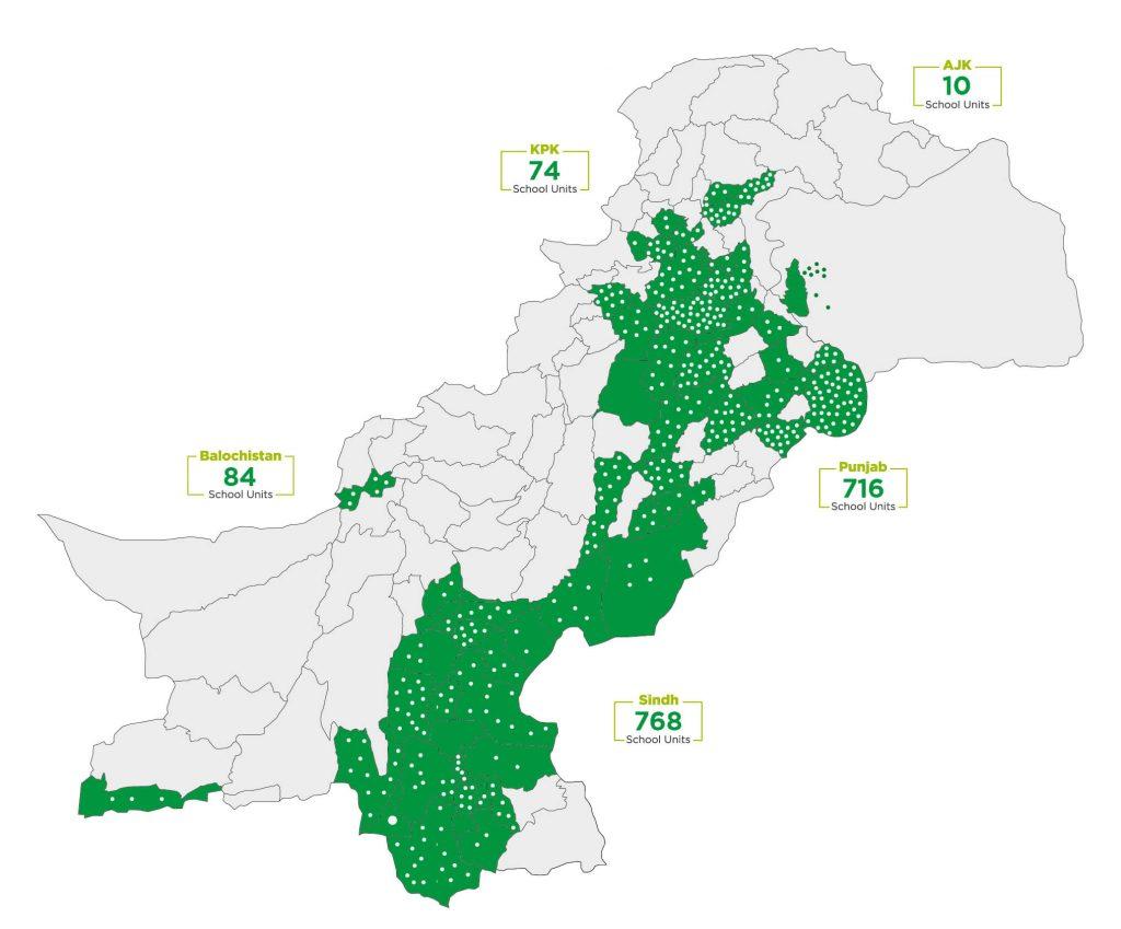 Map of TCF school locations